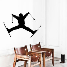 Wall Decals Boy Skier Extreme Skiing Winter Sport People Home Vinyl Decal Sticker Kids Nursery Baby Room Decor Removable A118