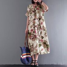 Buy S 5XL ZANZEA Women 2018 Summer Casual Boho Long Dress Vintage Crew Neck Short Sleeve Floral Printed Cotton Linen Loose Vestido for $12.80 in AliExpress store