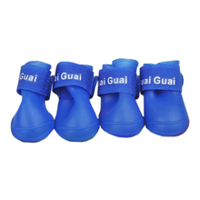 SZS Hot Blue Pet Shoes Booties Rubber Dog Waterproof Rain Boots Three Size