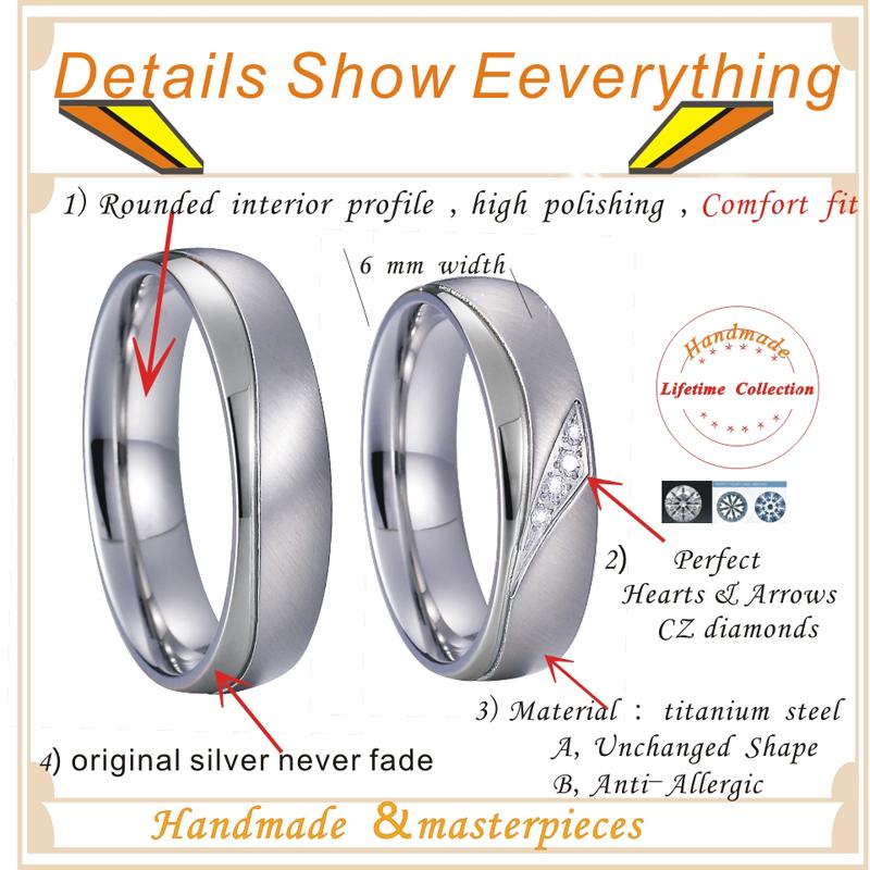 Unique sparkly CZ Zircon Promise Wedding Band Set men's Couple Rings Pair titanium jewelry women's ring Anillos Alliance Anel  (5)