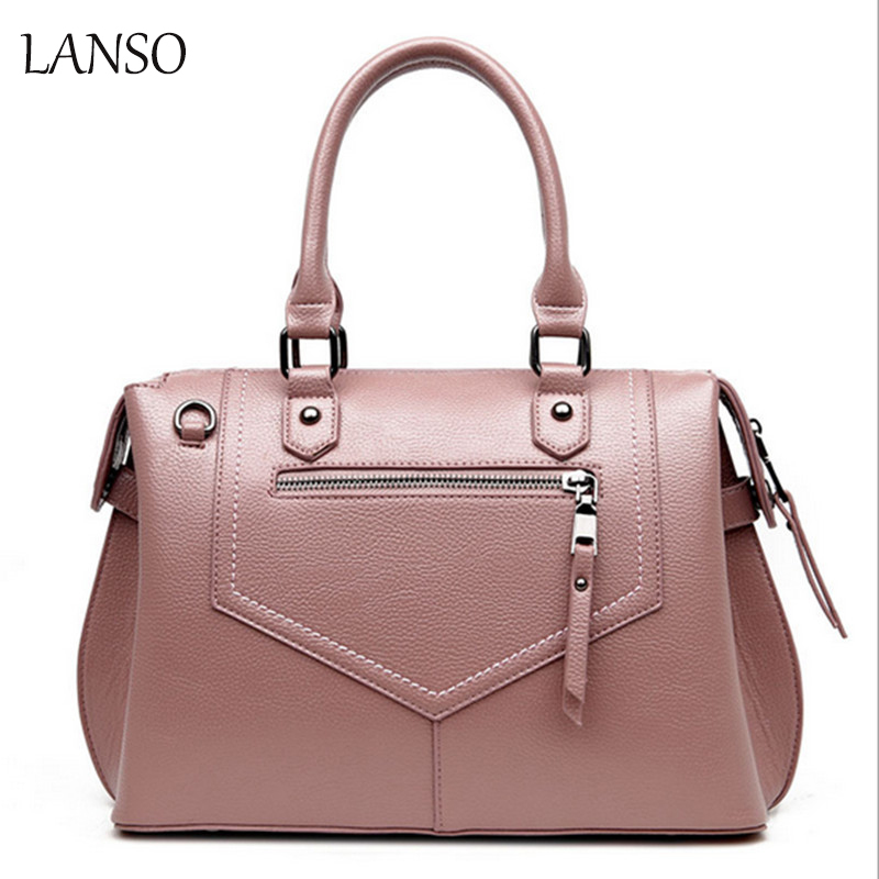 New Style Women s Solid Boston Bag Leisure Handbag PU Leather Bag Zipper Geometric Bag Famous High Quality Shoulder Bag Ladies<br>