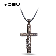 Hot Anime Death Note Black Gold Metal Necklace Cross Logo Pendant Cosplay Accessories Women Men Jewelry Necklaces & Pendants(China)