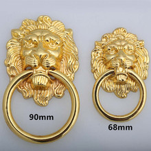 lenth 90mm big lionhead vintage style handles gold drawer cabinet pulls knobs 32mm gold large meatball dresser door handle knob(China)