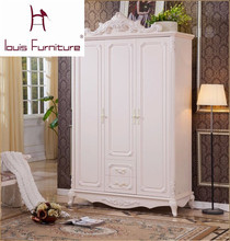 bedroom furniture Continental wardrobe French furniture carved depiction silver three doors two drawers wood wardrobe lockers(China)