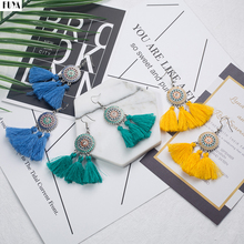 Ethnic Dream Catcher Big Flower Drip Oil Bohemia Earrings For Women Vintage Long Cloth Tassels Earring Jewelry Statement Brincos