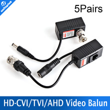 5Pairs Video Balun Transceiver BNC UTP RJ45 Video Balun and Power Over CAT5/5E/6 Cable for CVI/TVI/AHD 720P Camera UP TO 300m