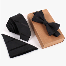 noeud papillon men cravate slim 5cm skinny ties black striped tie set hommes de cravate bowtie pocket square