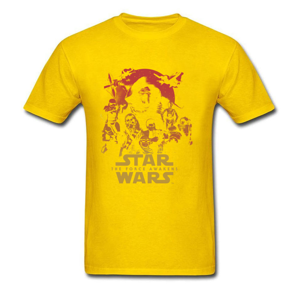 Force Awakens Poster Thanksgiving Day Pure Coon Crew Neck Tops Shirts Fashionable Tops Shirt New Coming T-shirts Force Awakens Poster yellow