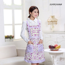 Hot sale Women's Bib Comfy Cooking Chef Floral Pocket Kitchen Restaurant Princess Apron