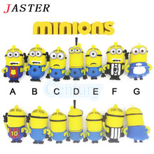 JASTER Hot sale minons style usb flash drives despicable me 2 memory stick pendrives 8gb 16gb lovely usb stick mini pen drive