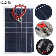 CLAITE 12V 30W PolyCrystalline Solar Panel With 4m Alligator Clip Wire DIY Solar Cells Battery Charger Multipurpose 540x350mm