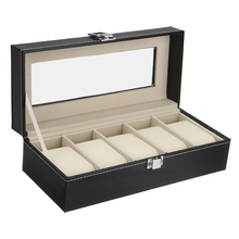 NEW!!!Luxury 5 Grid Leather Watch Box Jewelry Display Collection Storage Case Watch Organizer Box Holder