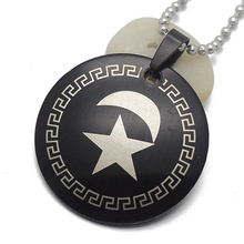 Men's Black Stainless Steel Round Islamic Crescent Moon & Star Charm Pendant Necklace For Muslim Free Chain 60cm Long