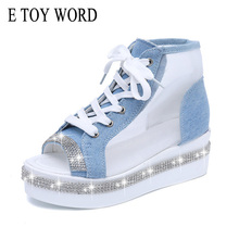 E TOY WORD Summer Gladiator Sandals Women Open-Toe Breathable Net Yarn Glitters High Heels Casual Lace -Up Wedges Women Shoes(China)