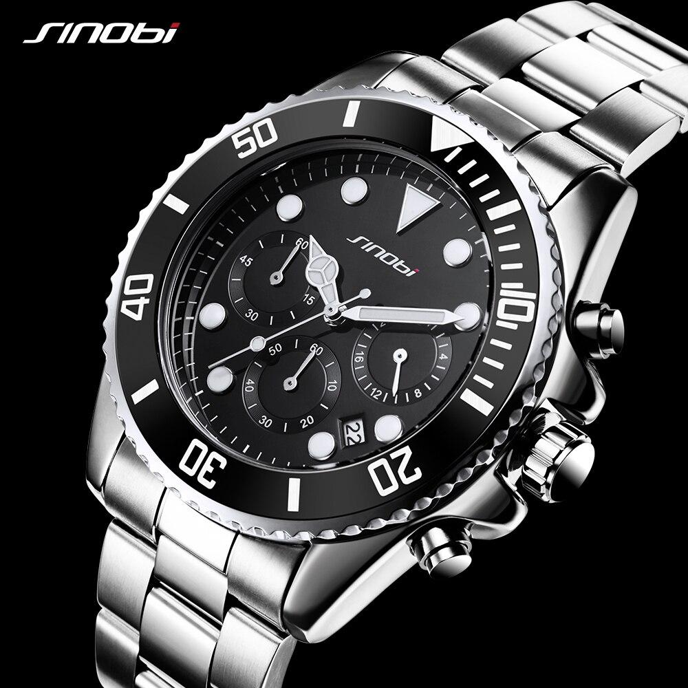 SINOBI Submariner 316 Full Steel Men Black Watch Rotatable Clock Men Fashion Business Quartz Watch Sports Relogio Masculino<br>