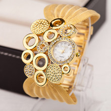 2016 New Lady Diamond bracelet watch women ladies fashion quartz-watch Mirror Luxury Brand Quartz Watches Gold Sliver Gift Mance(China)