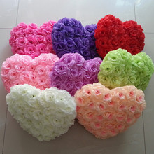 Free Shipping 1PC 35*30cm Artificial Silk Heart Shape Rose Flower Ball For Wedding Car Door Floral Centerpiece Decoration