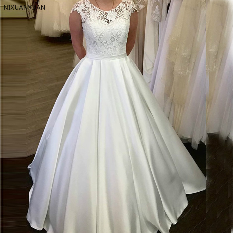Lace Wedding Dresses Scoop Neck A Line White Ivory Elegant Floor Length Bridal Gowns Zipper Back Robe De Mariee Cap Sleeves