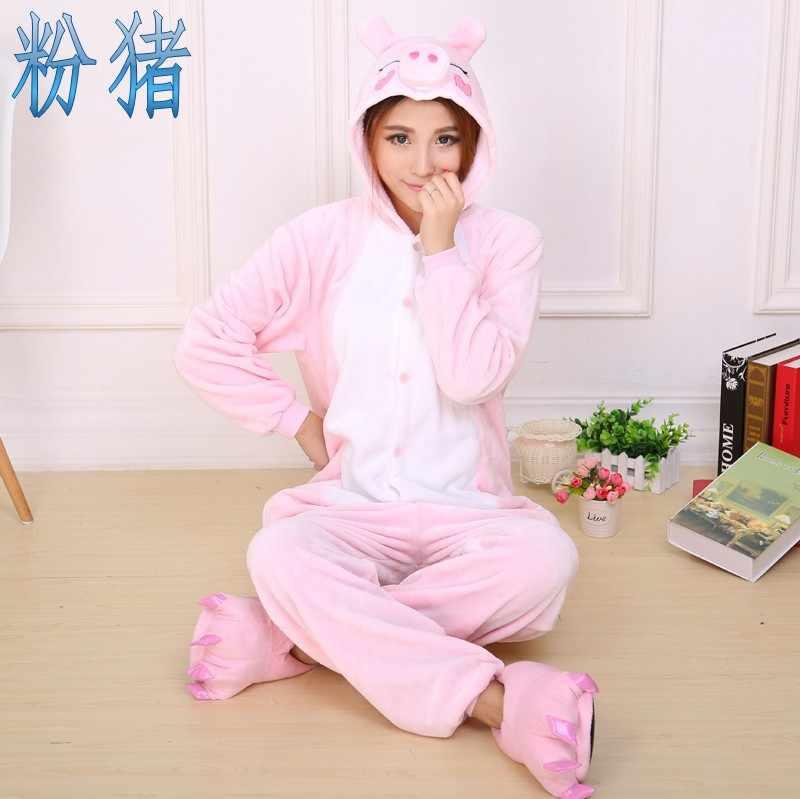 Розовый поросенок мультфильм пижамы зимняя фланелевая животных теплые пижамы  для взрослых Пары пижамы Kugurumi Дешевые взрослых dbb2c3b4df77d