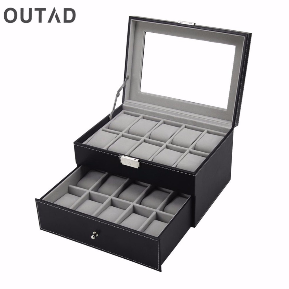 OUTAD 20 Grid Slots Jewelry Watches Boxes organizer Display Storage Box Case Leather Square Jewelry Holder Top Glass Winder<br>