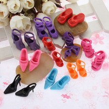 NEW 10 Pairs/lot Fashion Dolls Heels Sandals Set For Barbie Doll Shoes Colthes Dress 1x2.5cm(China)