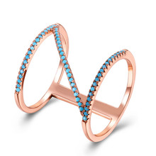 Fashion Finger Ring Female Rose Gold/Black Gun Color Row Paved Turquoise Stone Jewelry Party Accessories