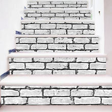 6 Pcs/Set 18CM*100CM 3D DIY Stairs Stickers Tile Black and White Brick Pattern for Room DIY Decoration Home Floor Wall Picture(China)