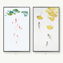 HAOCHU Traditional Chinese Lotus leaf The carp Ornamental fish Pond Canvas Painting Art Hanging Picture For Office Home Decor
