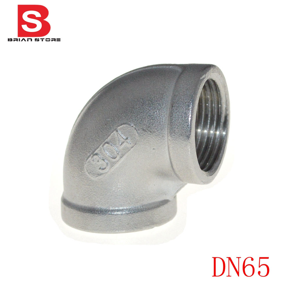 2-1/2  DN65 BSP Female thread 90 Degree Angled Elbow Joint  Pipe Connection 304 Stainless Steel connector Fittings +SEP<br><br>Aliexpress
