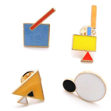 Europe and the United States foreign trade jewelry factory hot wind geometry Vibrant bright color series The badge pin brooch