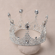 Hot European Designs King Queen Round Crown Rhinestone Tiara Head Jewelry Quinceanera Crown Wedding Bride Tiaras Crowns Pageant