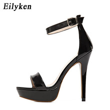 Eilyken Fashion Classics Brand Peep toe Buckle trap High Heels Sandals Shoes Woman Black Apricot Wedding Shoes Factory size 41