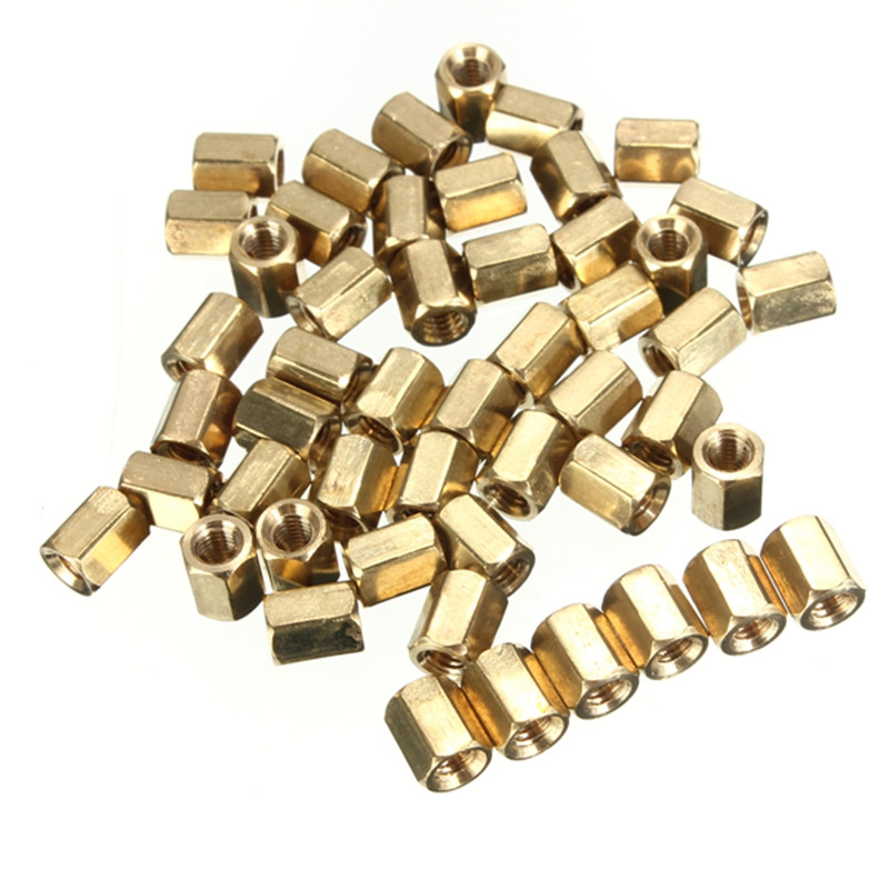 M3 6mm Hot Sale 50pcs/lot Hexagonal Net Nut Female Brass Standoff/Spacer Long Lasting High Quality<br><br>Aliexpress