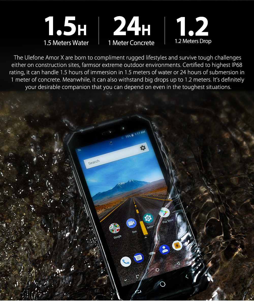 """Ulefone Armor X IP68 Waterproof Mobile Phone Android 8.1 5.5"""" HD Quad Core 2GB+16GB NFC Face ID Wireless Charge Smartphone"""