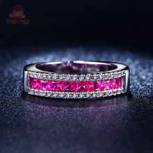 Pink Austrian Crystal Ring Women White Gold Plated AAA CZ Diamond Jewelry Popular Wedding Engagement Accessories Bague SHAC666