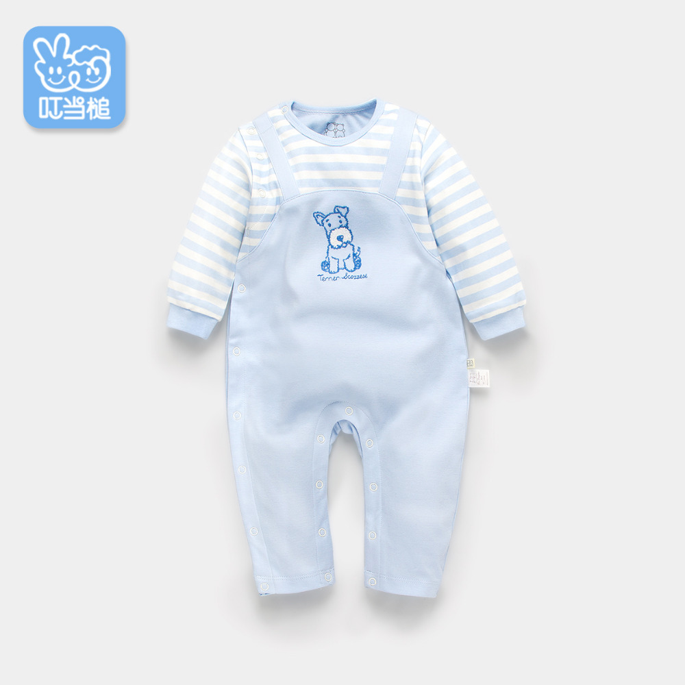 Dinstry 2018 spring and Autumn Puppy embroidery Romper color blocking<br>