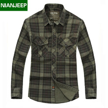 NIANJEEP Brand Men's 100% Cotton Cargo Shirts High Quality Male Casual Plaid long Sleeve Work Thick Warm Shirt for Men 2027