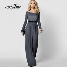 Buy 2018 New Autumn Fashion Elegant Dress Women Casual Long Sleeve Maxi Dress Robe Femme Slash neck Loose Party Dresses Vestido for $13.26 in AliExpress store