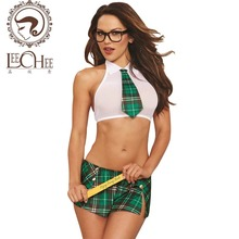 Buy Leechee J859  Women sexy lingerie cosplay student uniform sexy costumes vest+mini plaid skirt erotic underwear suit porn role