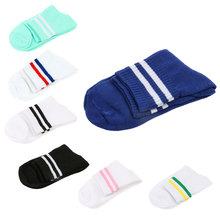 Women Girl Casual Cotton Fashion Sports Brief Striped High Hosiery Socks(China)