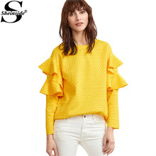 Sheinside Layered Ruffle Sleeve Blouses Women Yellow Polka Dot Embossed Cute Tops 2017 New Fashion Spring Casual Elegant Blouse(China)