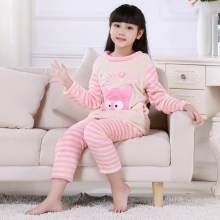Discount Winter Children Pajamas Long Sleeve Cartoon Kids Flannel Warm Girl Clothes Suit Lovely Children's Garment Home Clothing