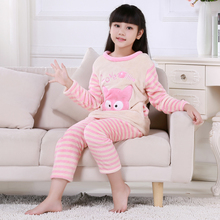Discount Winter Children Pajamas Long Sleeve Cartoon Kids Flannel Warm Girl Clothes Suit Lovely Children's Garment Home Clothing(China)