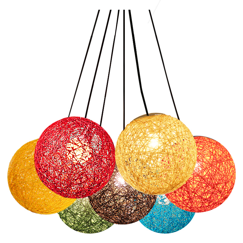 Creative Colorful Ma Rattan Ball LED String Fairy Lights Wicker Pendant Light For Christmas Xmas Wedding decoration Party bar <br>