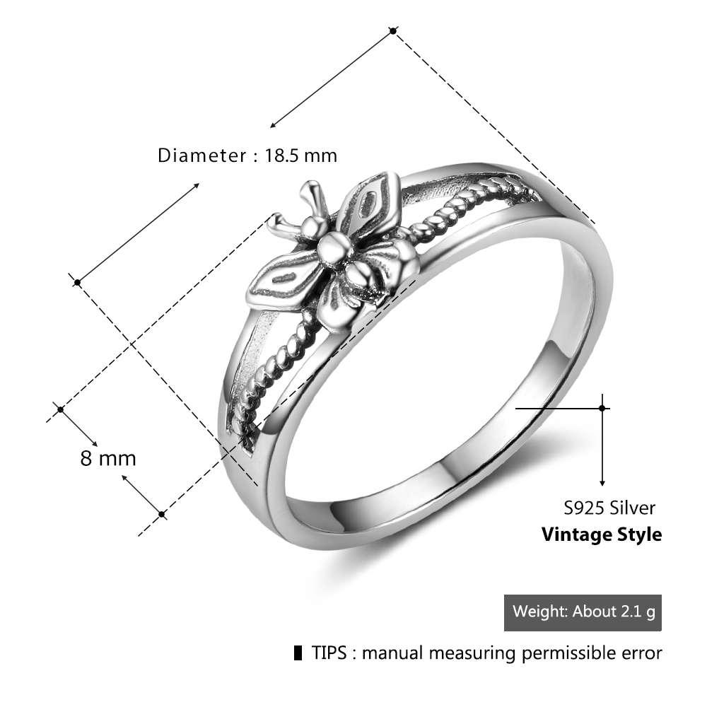 خاتم فضة بفراشة صغيرة 1