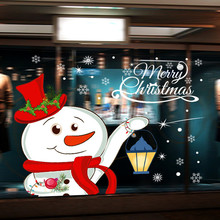 Christmas Wall Sticker 2018 New Year Cute Snowman Snowflake Wall Decals Home And Shop Window Festival Stiker #TH(China)