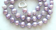 WONDERFUL 9mm lavender natural pearls necklace