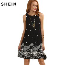 SHEIN Casual Dresses for Women 2016 Summer Ladies Black Polka Dot Print Sleeveless Round Neck Short Shift Dress(China)