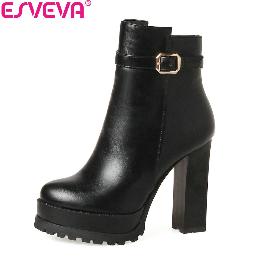 ESVEVA 2018 Buckle Solid Women Boots Zipper Platform Ankle Boots Square High Heel Round Toe Lady Autumn Spring Boots Size 34-39<br>