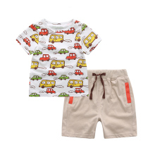 2017 Summer New Arrival Casual Baby Boys Clothing Set White Cartoon Cars Printing T-Shirt Top+Short Pants Ropa De Bebe Baby Suit